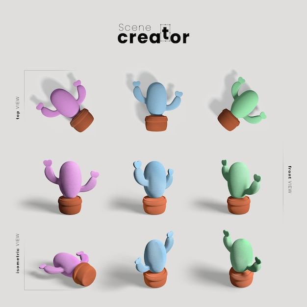 Scene creator with cactus collection Free Psd