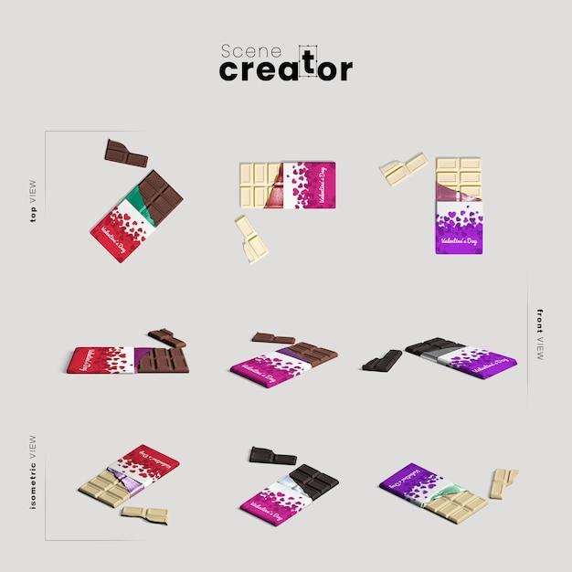 Scene creator with chocolate bar Free Psd