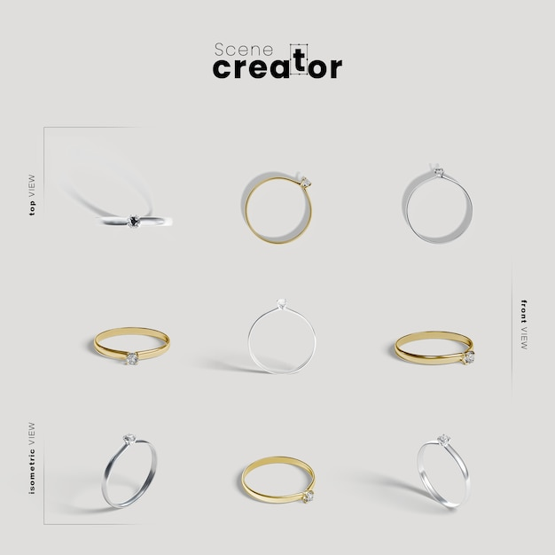 Scene creator with engagement rings Free Psd