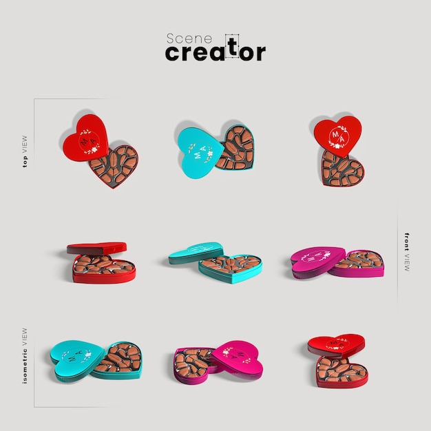 Scene creator with hear shape box with chocolate Free Psd