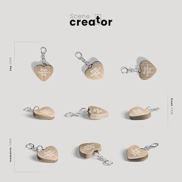 Scene creator with heart keychains Premium Psd
