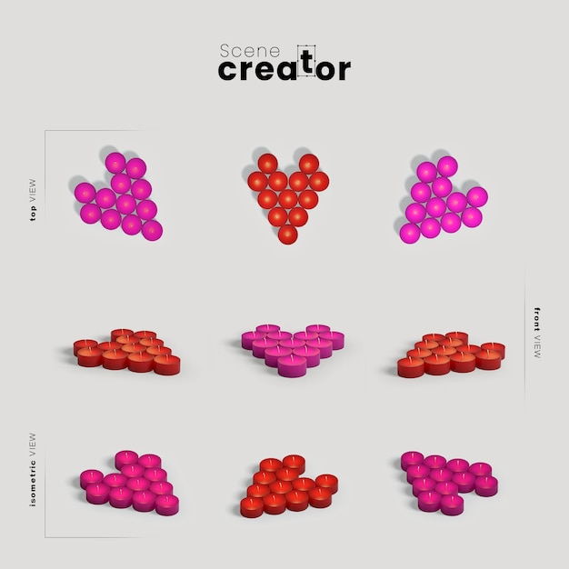 Scene creator with heart shapes Free Psd