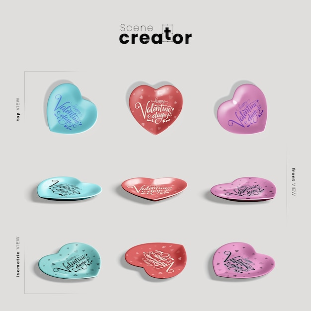 Scene creator with hearts for valentines day Free Psd