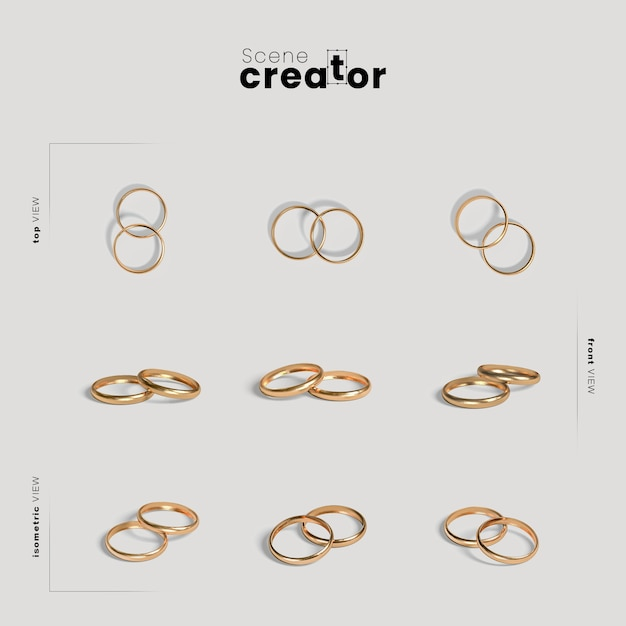 Scene creator with wedding rings Premium Psd