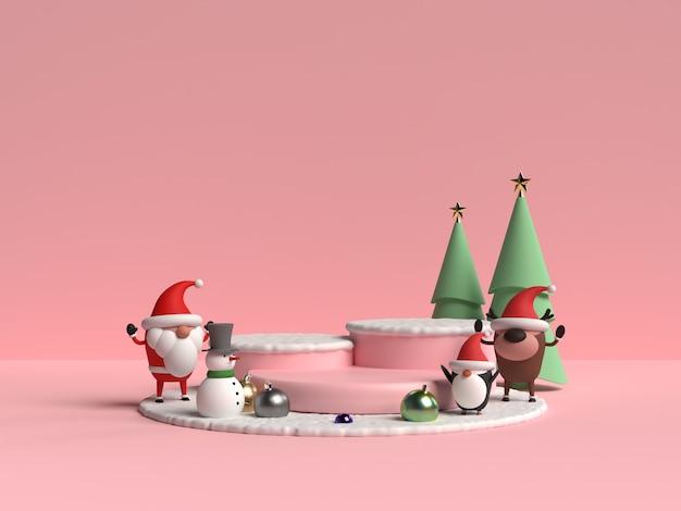 산타 클로스 3d 렌더링 크리스마스 연단의 현장 프리미엄 PSD 파일
