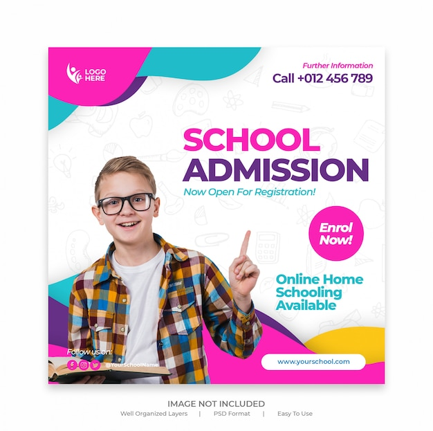 School admission banner template or square flyer Premium Psd