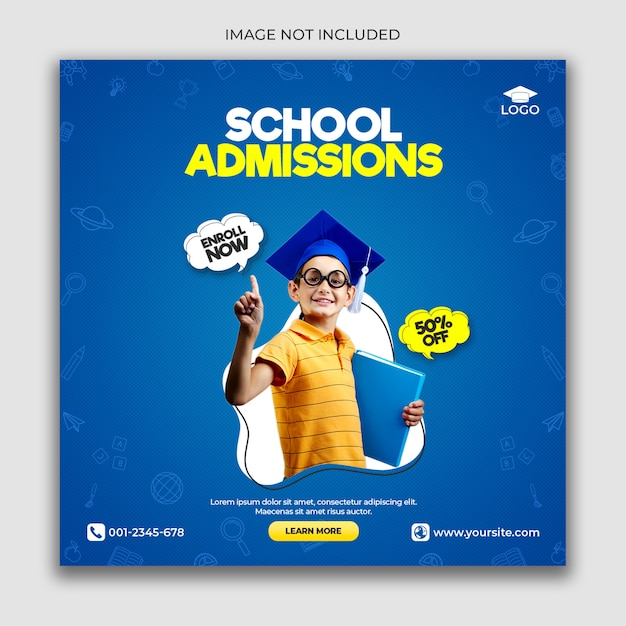 School admission banner template or square Premium Psd