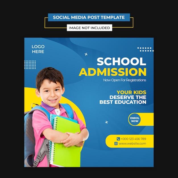 School admission banner template Premium Psd