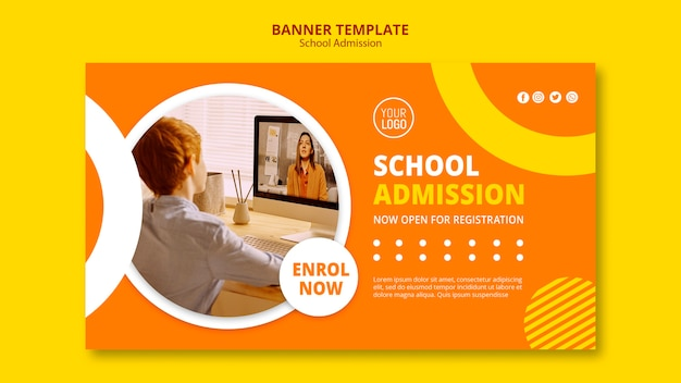 School admission concept banner template Free Psd