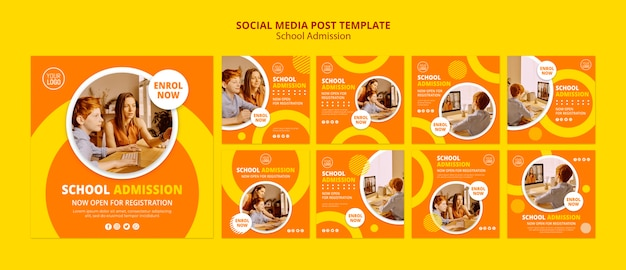 School admission concept social media post template Free Psd