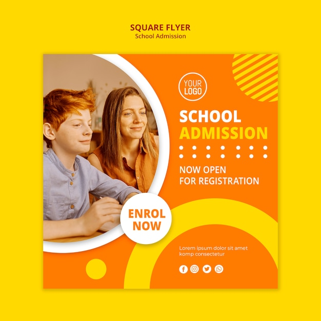 School admission concept square template Free Psd