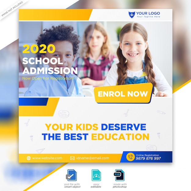 School admission marketing social media post or square flyer template Premium Psd