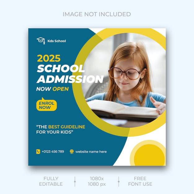 School admission social media post Free Psd