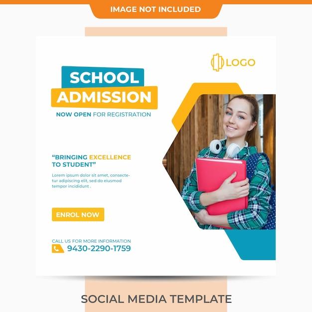 School admission template clean minimalist mature style Premium Psd