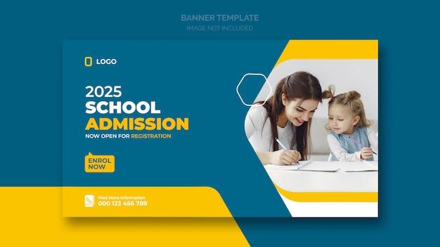 Школьный баннер или социальный баннер Premium Psd