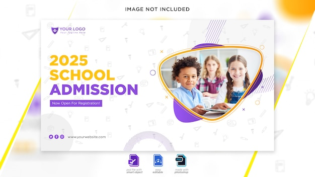 Веб-баннер школы приема Premium Psd