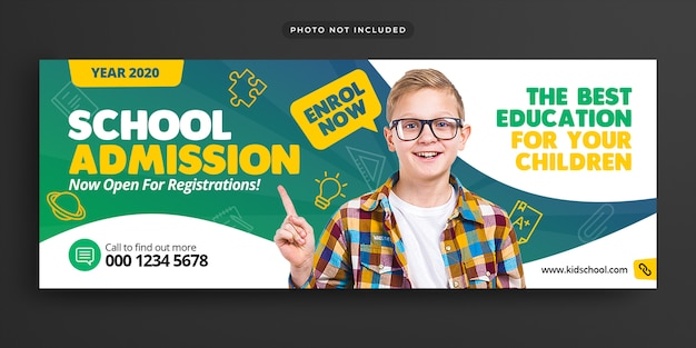 School education admission facebook timeline cover & web banner Premium Psd