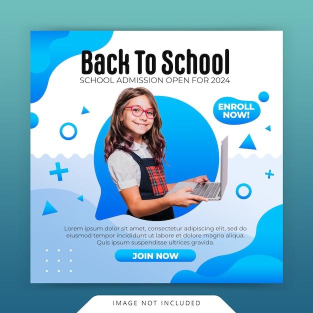 Поступление в школу в социальных сетях instagram и шаблон веб-баннера Premium Psd