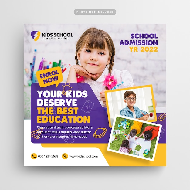 School education admission social media post and web banner Premium Psd