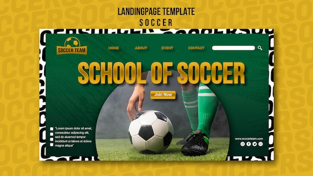 School of soccer landing page template Free Psd