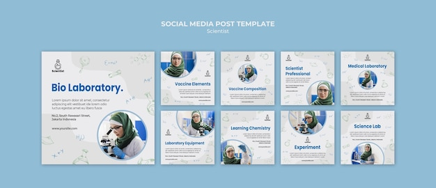 Science club social media post template Free Psd