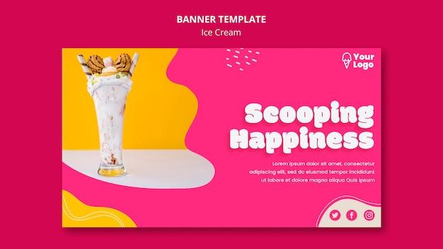 Черпать счастье баннер шаблон мороженого Бесплатные Psd