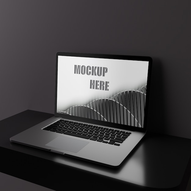 Screen laptop mockup on black glossy desk Premium Psd
