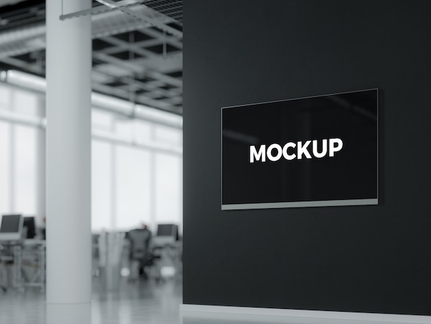 Screen On Wall Mock Up Psd File Premium Download