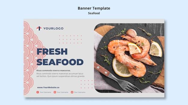 Шаблон баннера концепции морепродуктов Бесплатные Psd