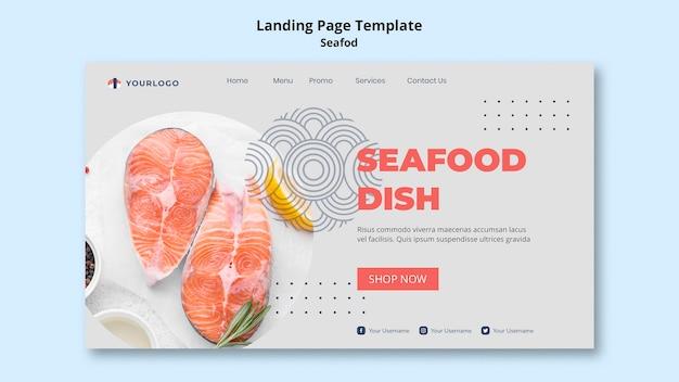 Шаблон целевой страницы концепции морепродуктов Бесплатные Psd