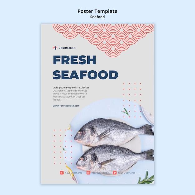 Шаблон плаката концепции морепродуктов Бесплатные Psd