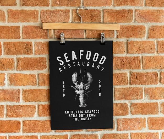 Seafood restaurant menu poster mockup Free Psd