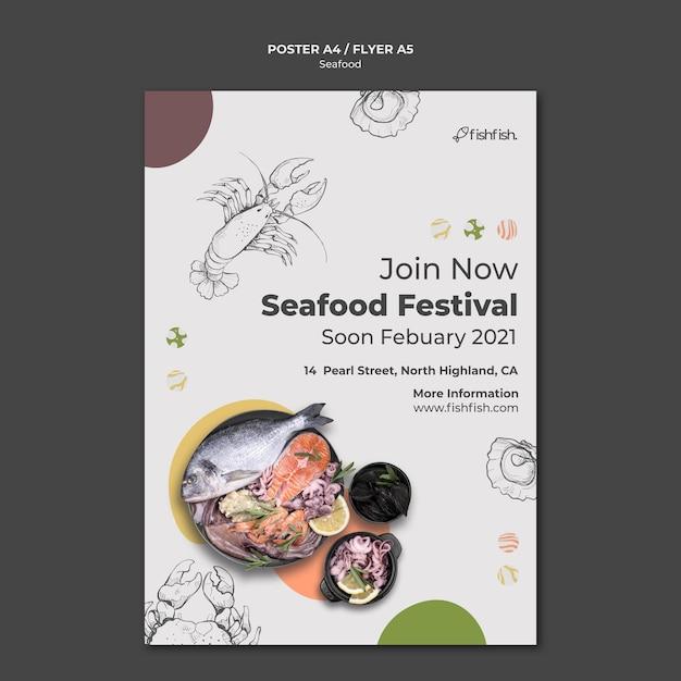 Шаблон плаката ресторана морепродуктов Бесплатные Psd