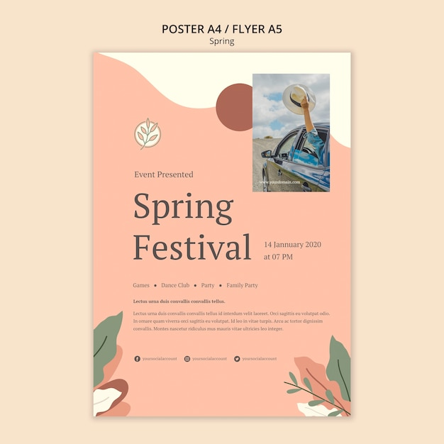 Сезонный шаблон для плаката весеннего фестиваля Бесплатные Psd