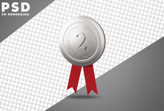 Серебряная медаль за второе место 3d рендеринг Premium Psd