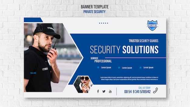 Security services ad banner template Free Psd