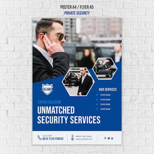 보안 서비스 포스터 템플릿 무료 PSD 파일