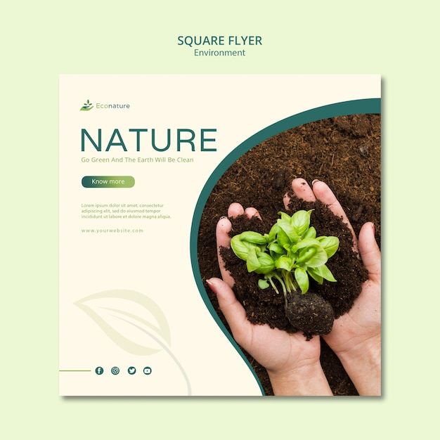 Seedling in soil square flyer template Free Psd