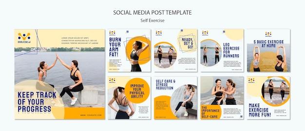 Modello di post sui social media di auto esercizio Psd Gratuite