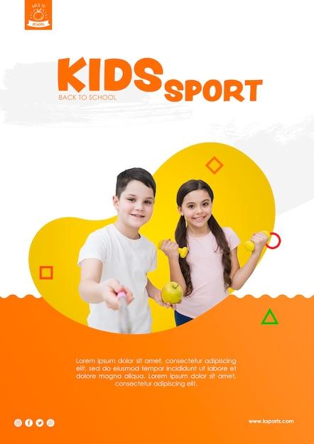 Selfie of kids sport template Free Psd