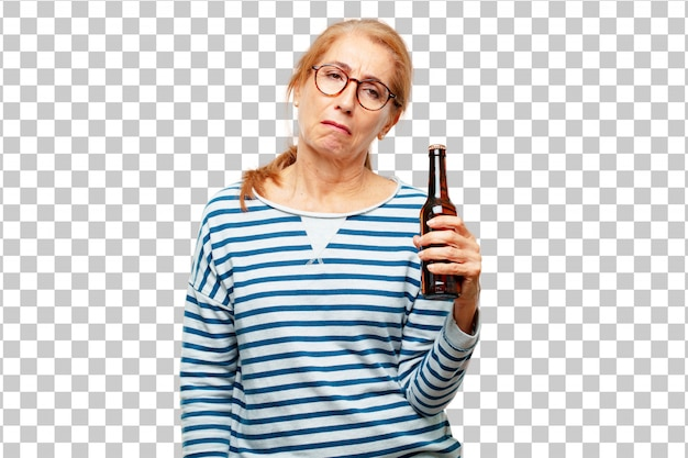 Senior beautiful woman having a beer Premium Psd