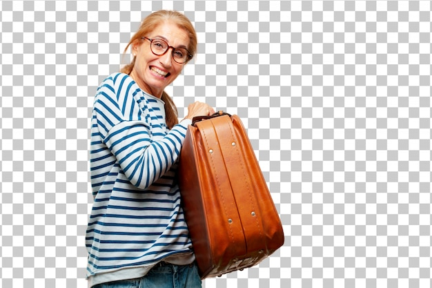 Senior beautiful woman with a leather case luggage Premium Psd