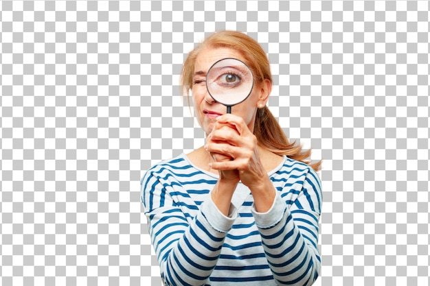 Senior beautiful woman with a magnifying glass Premium Psd