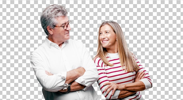 Senior cool husband and wife with a proud, satisfied and happy look on face Premium Psd