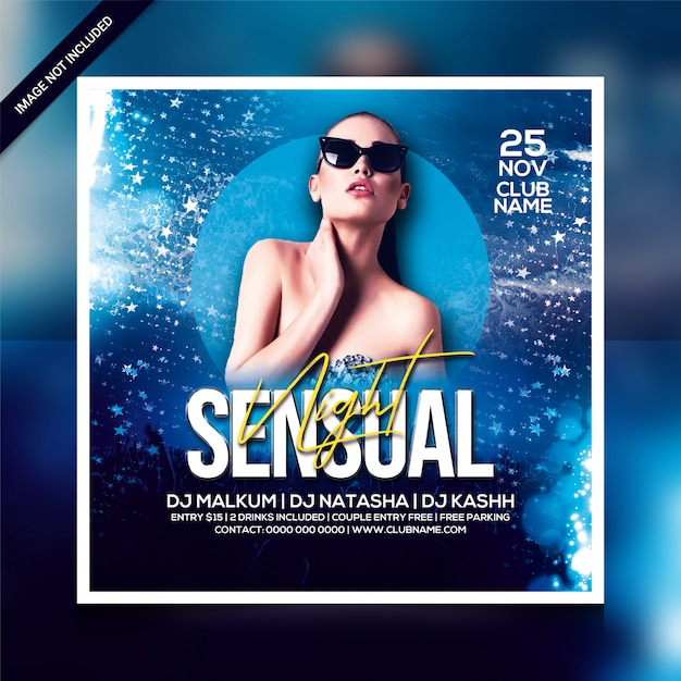 Sensual night party flyer or square poster template