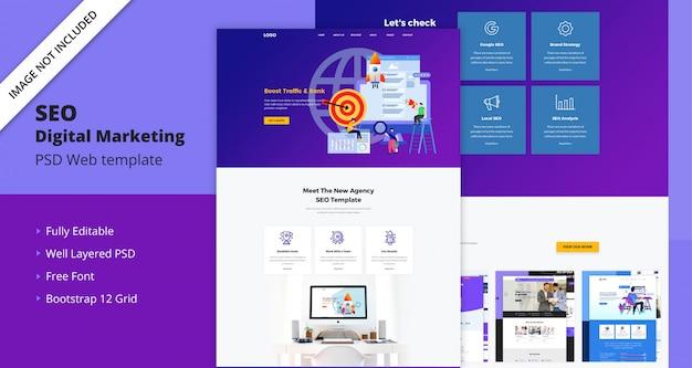 Seoデジタルマーケティングwebテンプレート Premium Psd