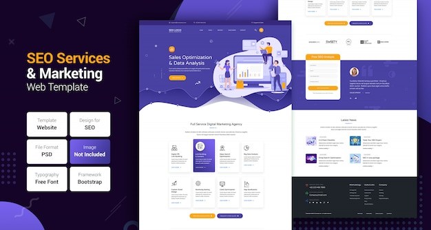 Seo services & marketing web template for digital agency Premium Psd | ui ux web design