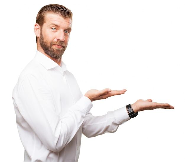 Серьезный бизнесмен с открытыми руками Бесплатные Psd