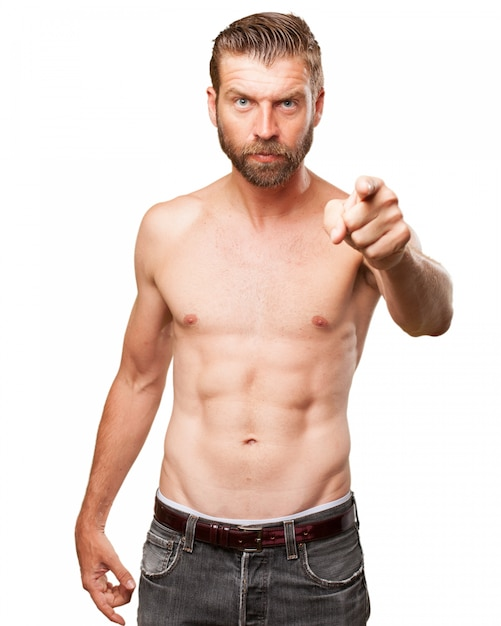 Serious sportsman pointing at you PSD file | Free Download