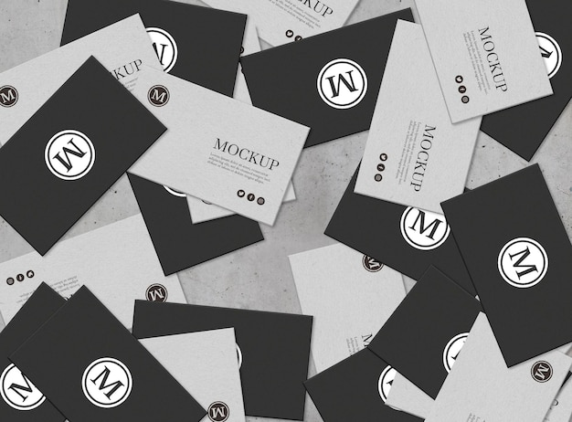 Set of business card with messy composition mockup Free Psd